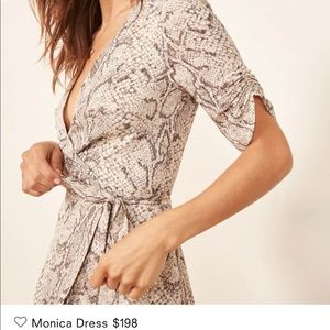 Reformation Monica snake skin wrap dress